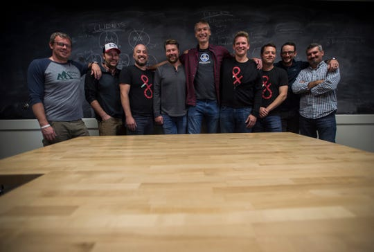 From left, Dealer.com founders and key employees, James LaScolea, Rick Gibbs, Mike Lane, Eric Mayhew, Chris Scott, Scott Gale, Brian McVey, Matt Murray and Mike DeCecco.
