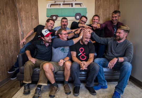 From top left, Dealer.com founders and key employees, Brian McVey, Mike DeCecco, Matt Murray, Scott Gale, Chris Scott, and bottom from left, Rick Gibbs, James LaScolea, Mike Lane and Eric Mayhew (not shown, Ryan Dunn and Mark Bonfigli.) Dealer.com was founded in 1998.
