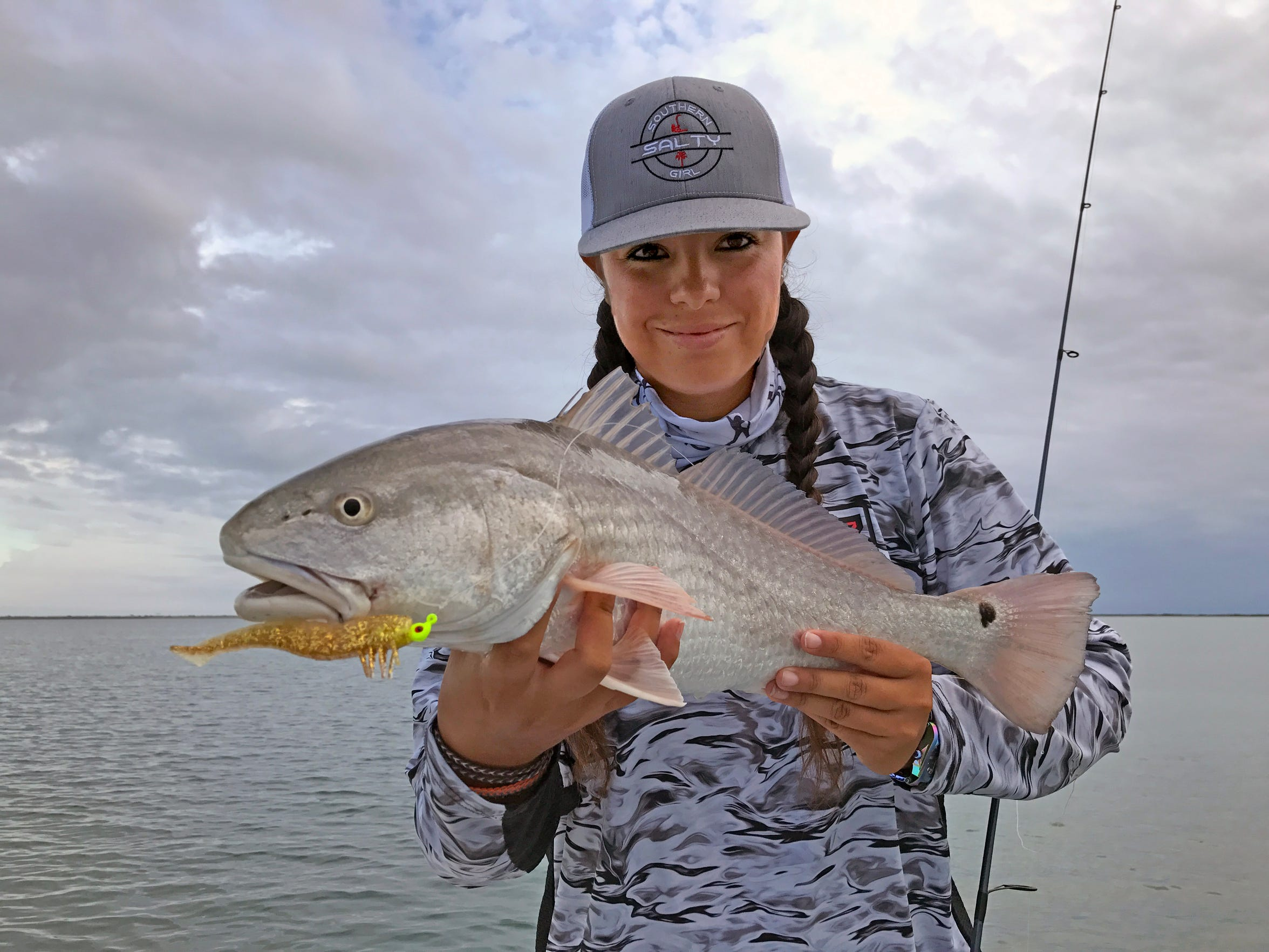Capt. Ruby Delgado used a DOA Shrimp to catch this redfish, while drifting the Lower Laguna Madre before the start of dove season.
