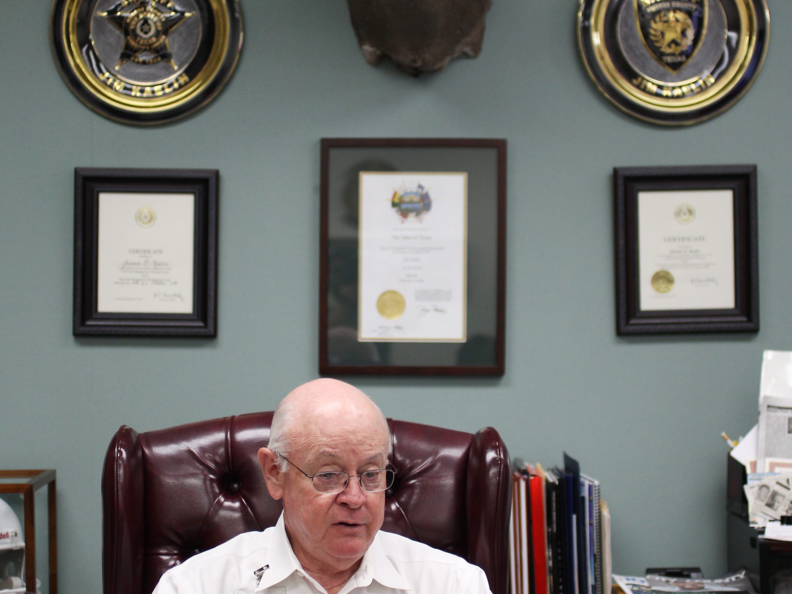 Nueces County Sheriff Jim Kaelin explains his department's extradition process Thursday, Aug. 1, 2013 in his office in Corpus Christi.