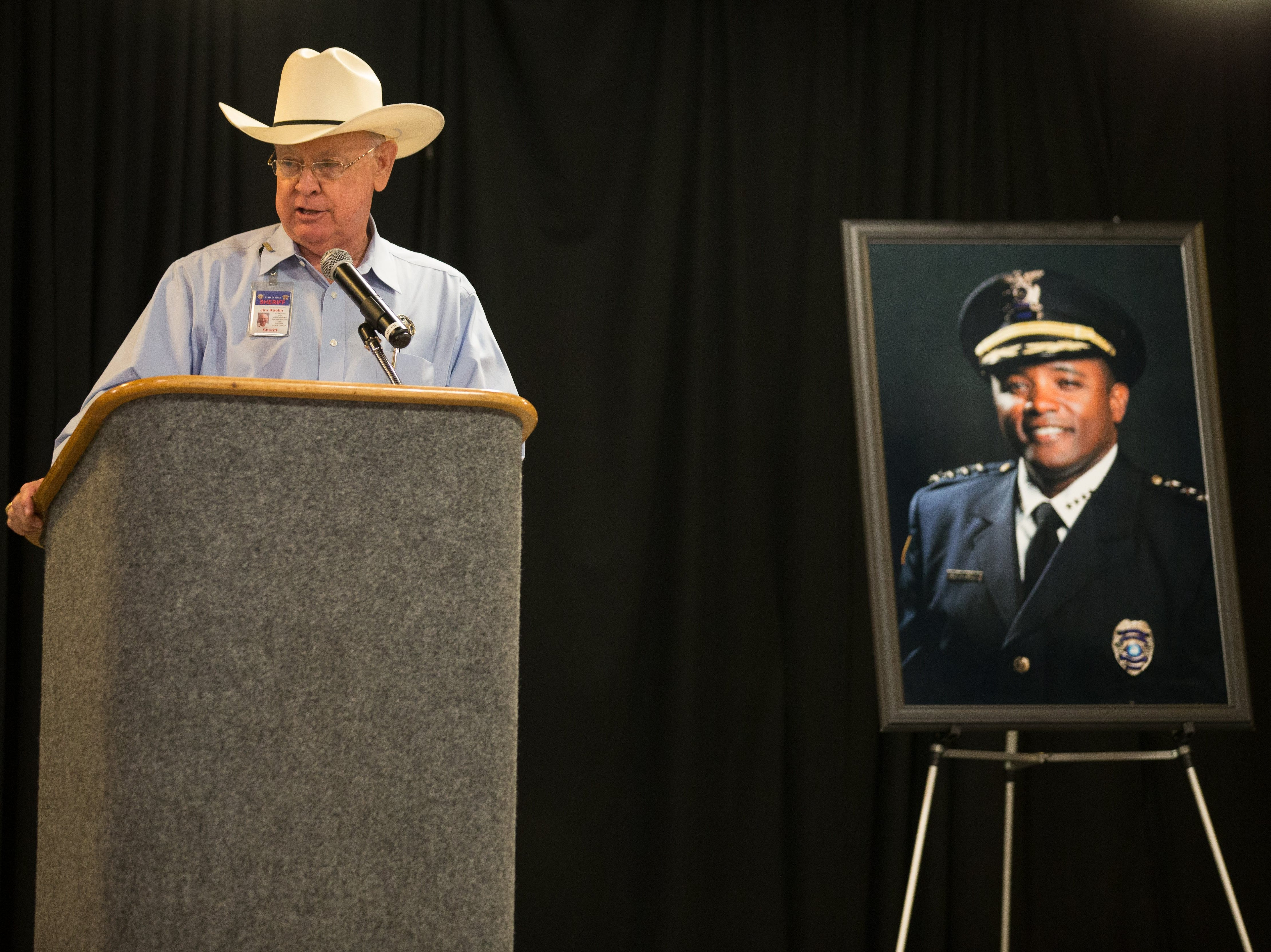 "Nueces County Sheriff  Jim Kaelin tells a story about the late Police Chief Floyd Simpson during ""The Legacy of Chief Simpson"" program at the Congressman Solomon P. Ortiz International Center, Tuesday, Sept. 22, 2015."
