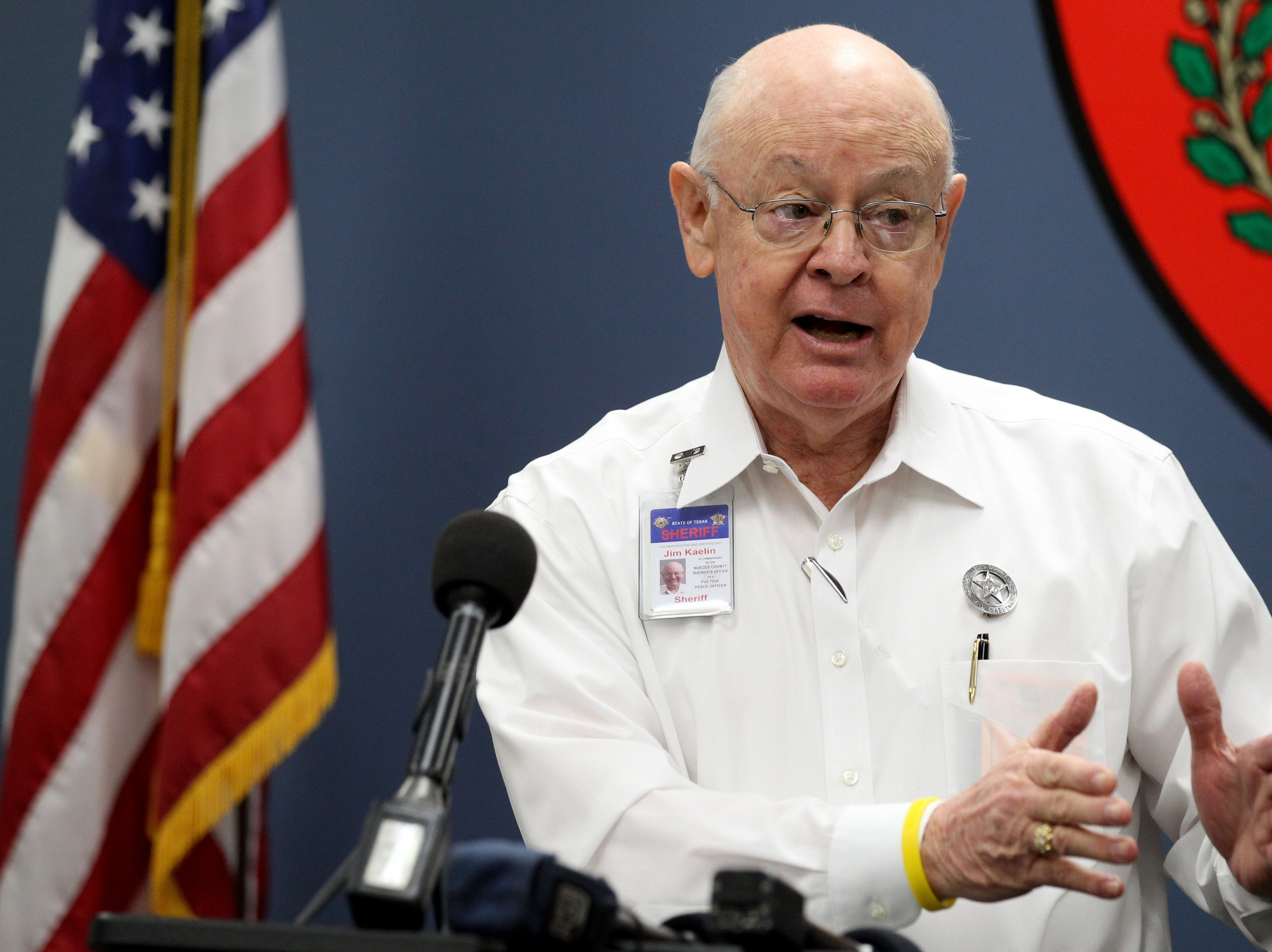 Nueces County Sheriff Jim Kaelin explains to members of the media the steps his staff took Thursday, Nov. 6, 2014 after an incoming inmate claimed he had contact with a person with the Ebola virus at the Nueces County Jail in Corpus Christi.