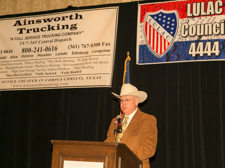 Sheriff Jim Kaelin introduces Master of Ceremonies Tony Bonilla.