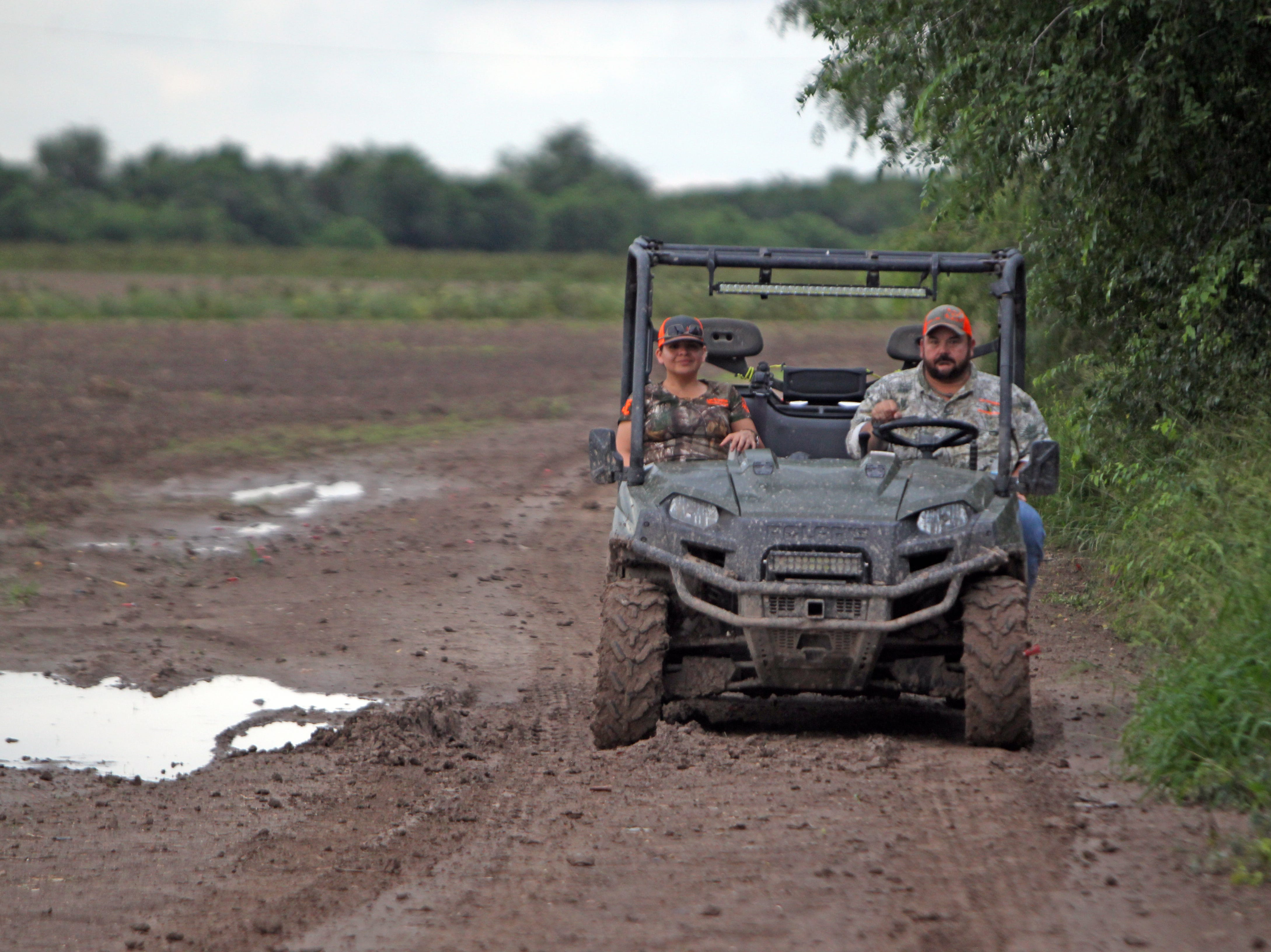 Johnny Leal and his wife making the rounds during opening day of dove season at his Los Girasoles White Wing fields.