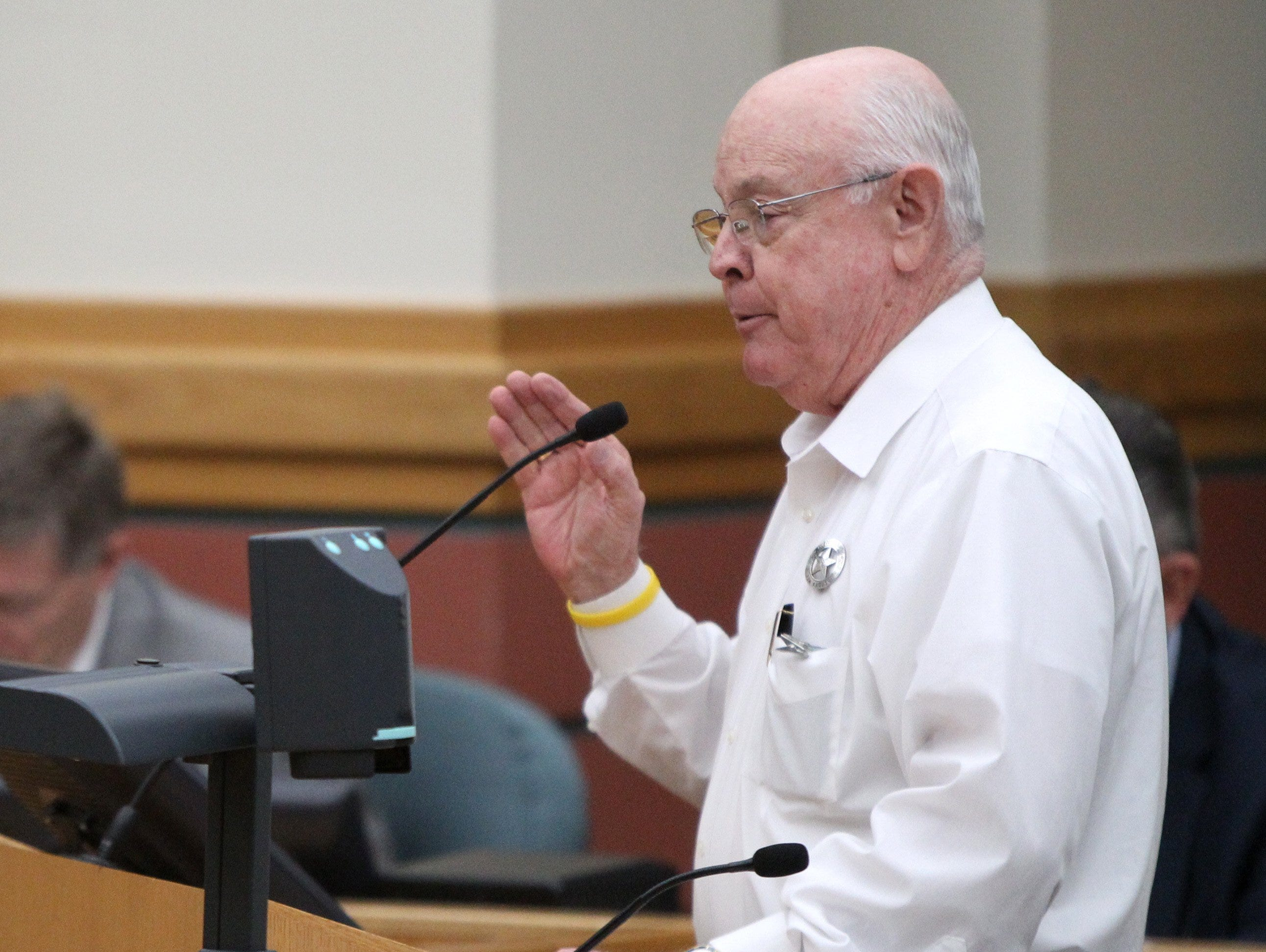 Rachel Denny Clow/Caller-TimesJim Kaelin, Nueces County Sheriff, speaks against the rezoning of an area on the Southside to allow for a family entertainment center to be built during the City Council meeting on Tuesday, May 13, 2014.