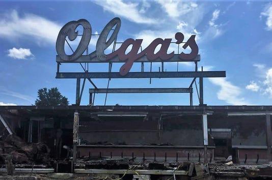 Olga Sign being demolished
