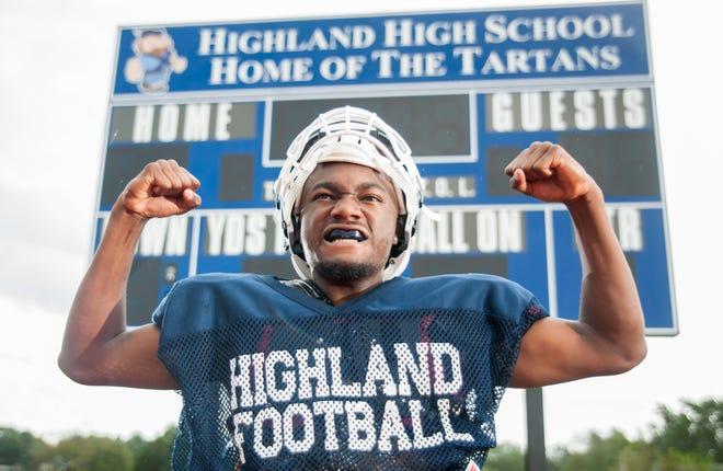 Highland's Kasim Randall-Dale displays his Highland pride during football practice at Highland High School on September 25, 2018.