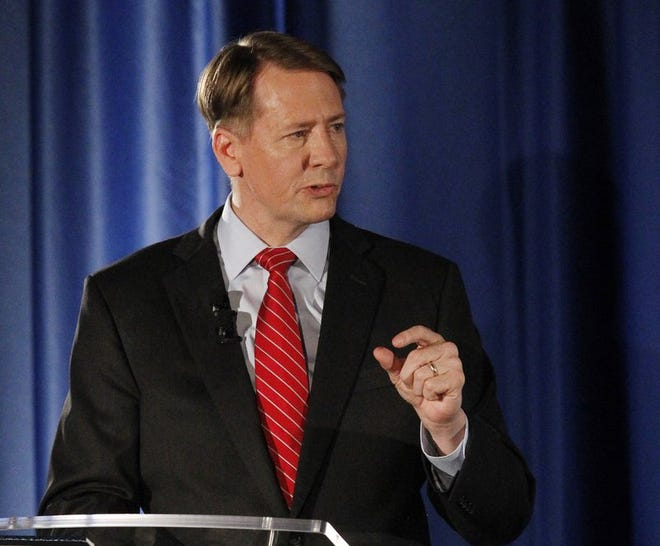 In this Sept. 19, 2018, file photo, gubernatorial candidate, Democrat Richard Cordray, speaks during a debate with Republican Mike DeWine at the University of Dayton in Dayton, Ohio. Letters from the physicians of Republican Attorney General Mike DeWine and Cordray were produced at the request of The Associated Press. The two are in a close, expensive race this fall to replace Republican Gov. John Kasich, who's term-limited.
