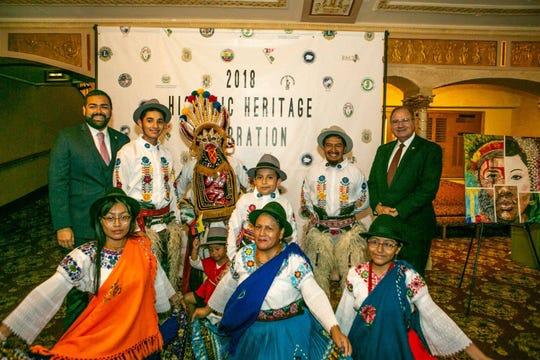 """Ecuadorian Dance Group """"Tradiciones de mi Pueblo"""" with Freeholder Chairman Sergio Granados, left, and Freeholder Angel Estrada, right."""
