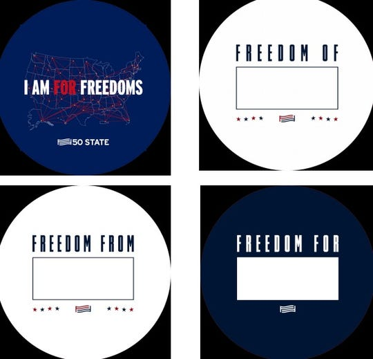 Buttons that will be a part of Rutgers University's 50 State Initiative with  For Freedoms.