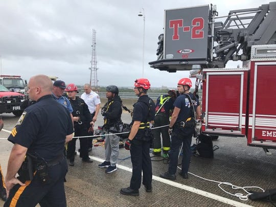 A man is receiving medical treatment after being rescued from an attempted jump off the Victory Bridge in Perth Amboy.