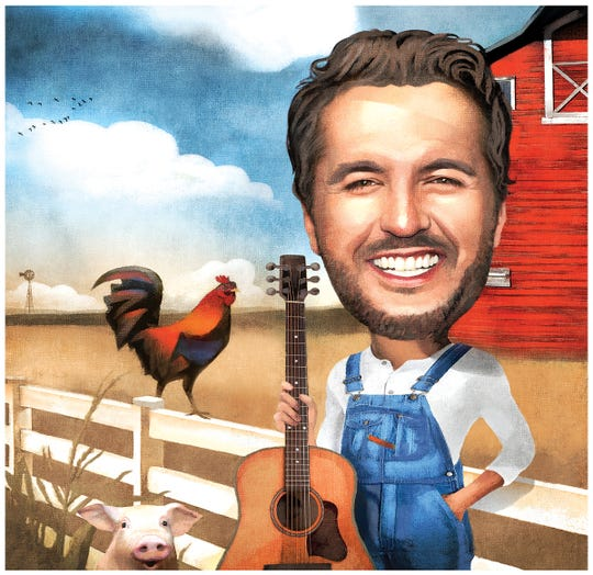 Country star Luke Bryan, illustrated by the Register's Mark Marturello.