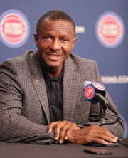 Detroit Pistons head coach Dwane Casey talks with reporters during media day at Little Caesars Arena in Detroit on Monday, Sept. 24, 2018.