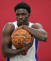 Detroit Pistons guard Khyri Thomas during media day at Little Caesars Arena in Detroit on Monday, Sept. 24, 2018.