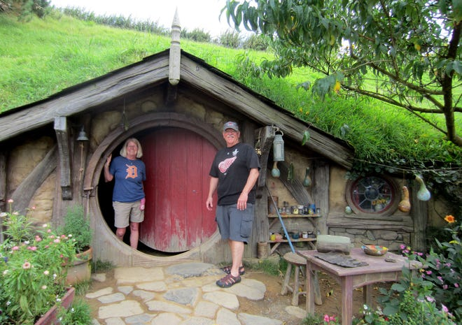"""In March 2017, Gin and Jim Freers of Novi took the D to the New Zealand movie set where the """"Lord of the Rings"""" and """"Hobbit"""" films were made.  The site, known as the Hobbiton Movie Set, is on a family-run farm and is now a tourism destination. It's near the town of Matamata on New Zealand's North Island."""