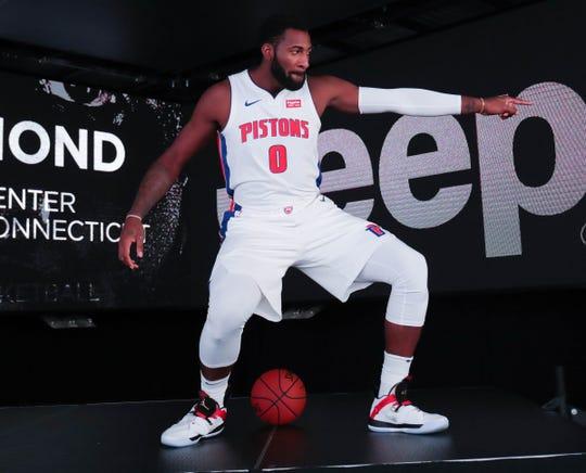 Detroit Pistons center Andre Drummond during media day at Little Caesars Arena in Detroit on Monday, Sept. 24, 2018.