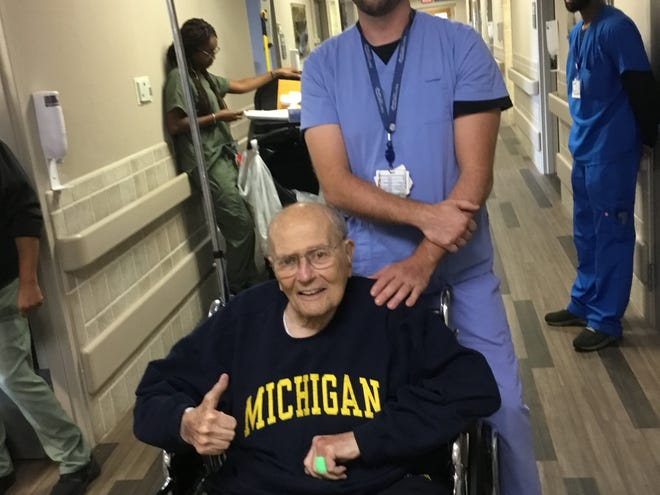 Former U.S. Rep. John Dingell is released from Henry Ford Health System on Sept. 25, 2018, after suffering an apparent heart attack the week before.