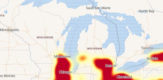 Verizon's service outage on September 25, 2018 affected large parts of southeast Michigan.