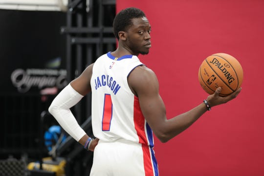 Detroit Pistons guard Reggie Jackson during media day at Little Caesars Arena in Detroit on Monday, Sept. 24, 2018.