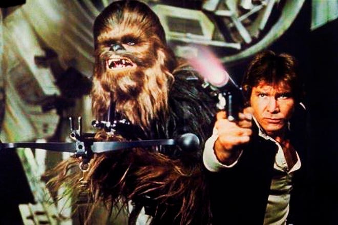 "Chewbacca, left, and Harrison Ford in 1977's ""Star Wars: Episode IV -- A New Hope."""