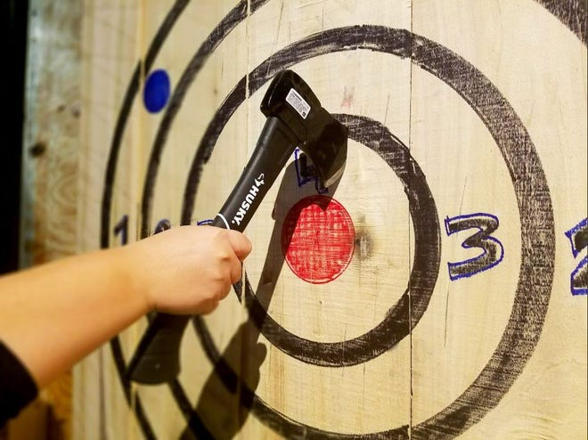 The Hub Stadium offers five ax throwing lanes.
