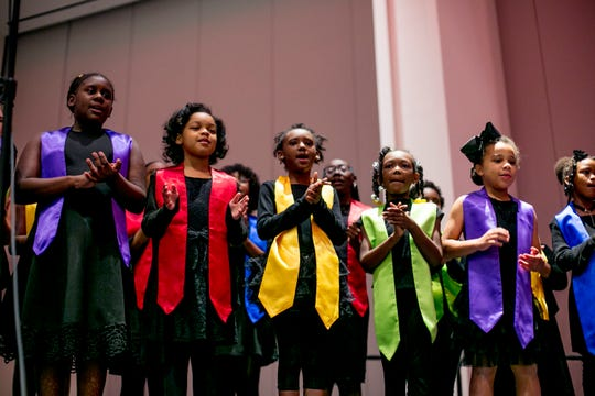 The Detroit Children's Choir performs at the Detroit Goodfellows Annual Tribute Breakfast Tuesday.