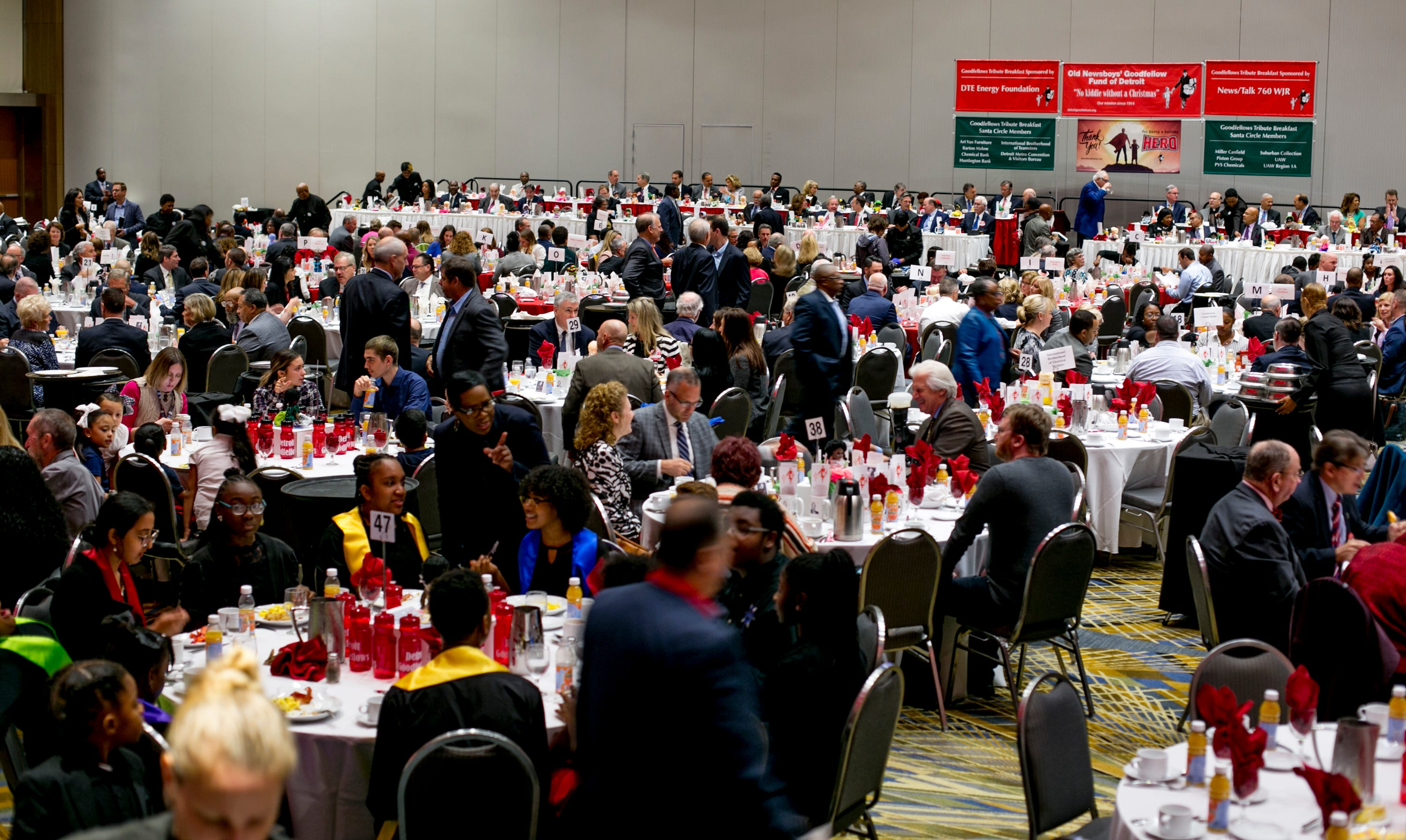 A crowd fills the room at Cobo Center for  the Detroit Goodfellows Annual Tribute Breakfast XXIX.