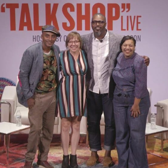 Marcus Samuelsson, left, interviewed Detroit restaurant owners Lisa Ludwinski, Maxcel Hardy and Kiki Louya at the Gem Theatre Tuesday evening.