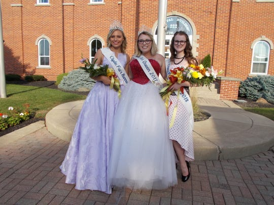 Clyde Fair Royalty, from left, are runner up Addison Coley; 2017  queen Madison Cutshall, and  2018 queen Elise Hill.