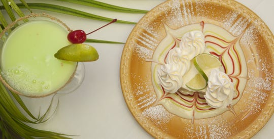 A Key lime martini and a slice of the award-winning Key lime pie from Keylime Bistro on Captiva.