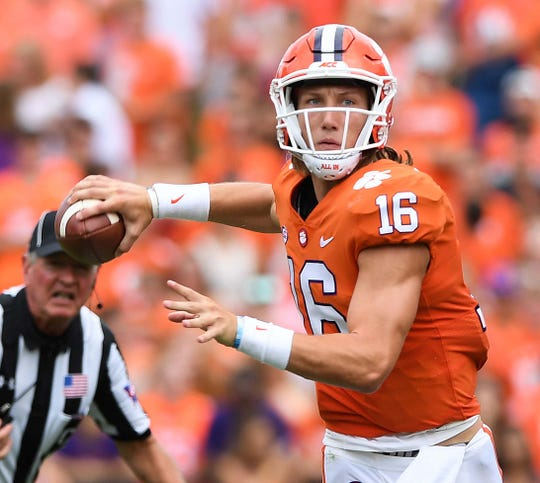 Clemson quarterback Trevor Lawrence (16) looks to pass against Georgia Southern during the 3rd quarter Saturday, September 15, 2018, at Clemson's Memorial Stadium.