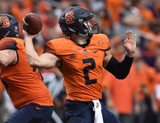 Syracuse quarterback Eric Dungey (2) passes against Clemson during the 3rd quarter on Friday, Oct. 13, 2017 at the Carrier Dome in Syracuse, N.Y.