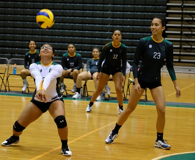 The University of Guam Tritons beat Pacific Islands University 25-6, 25-8, 25-21 in the Guam Women's College Volleyball League Sept. 24.