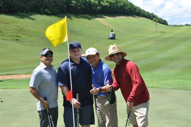From left: Charlie Hermosa (general manager, American President Lines), Mike Schniep (recruitment supervisor, DOA) Monte Mesa (general manager, Guam Premier Outlets) and Charlie Tai (president, TAICO Corp.) at the annual Classic Golf Tournament Sept. 8, 2018.