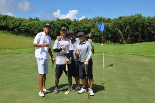 From left: JD Castro (general manager, Denanche Security Agency), Ashton Surber, Frank Russo and Joey Laguana at the fourth annual Classic Golf Tournament at the Country Club of the Pacific on Sept. 8, 2018.