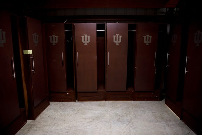 The nearly 7-foot-tall lockers being auctioned off by IU Surplus were installed at Assembly Hall in 2002 and used through the 2018 season.