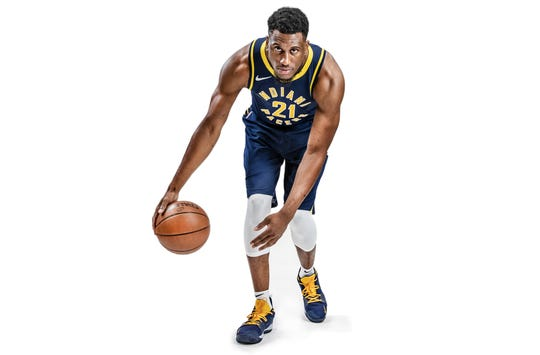 Photo illustration of Indiana Pacers forward Thaddeus Young (21) during the Pacers' media day at Bankers Life Fieldhouse on Monday, Sept. 24, 2018.