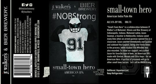 The label for Bier Brewery and JT Walker's collaboration for Small-Town Hero.