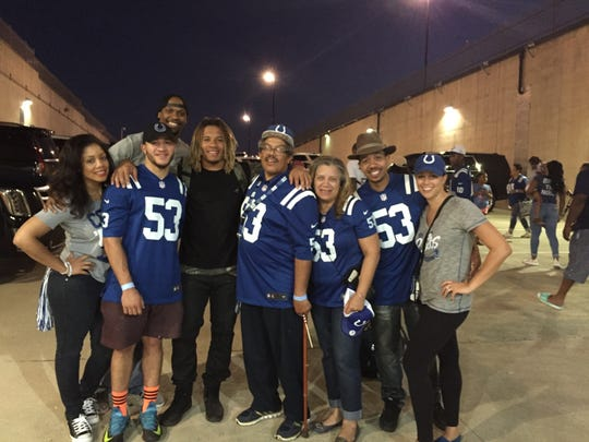 The Jackson crew poses with Edwin after a Colts' game.