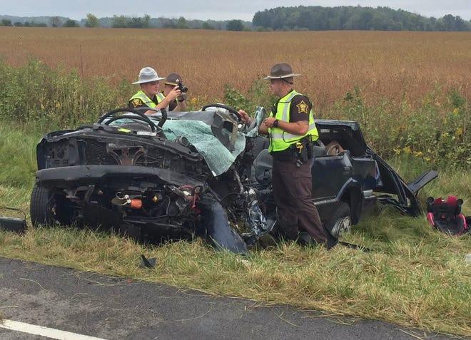 Hendricks County deputies investigate a fatal accident on U.S. 40 on Monday.