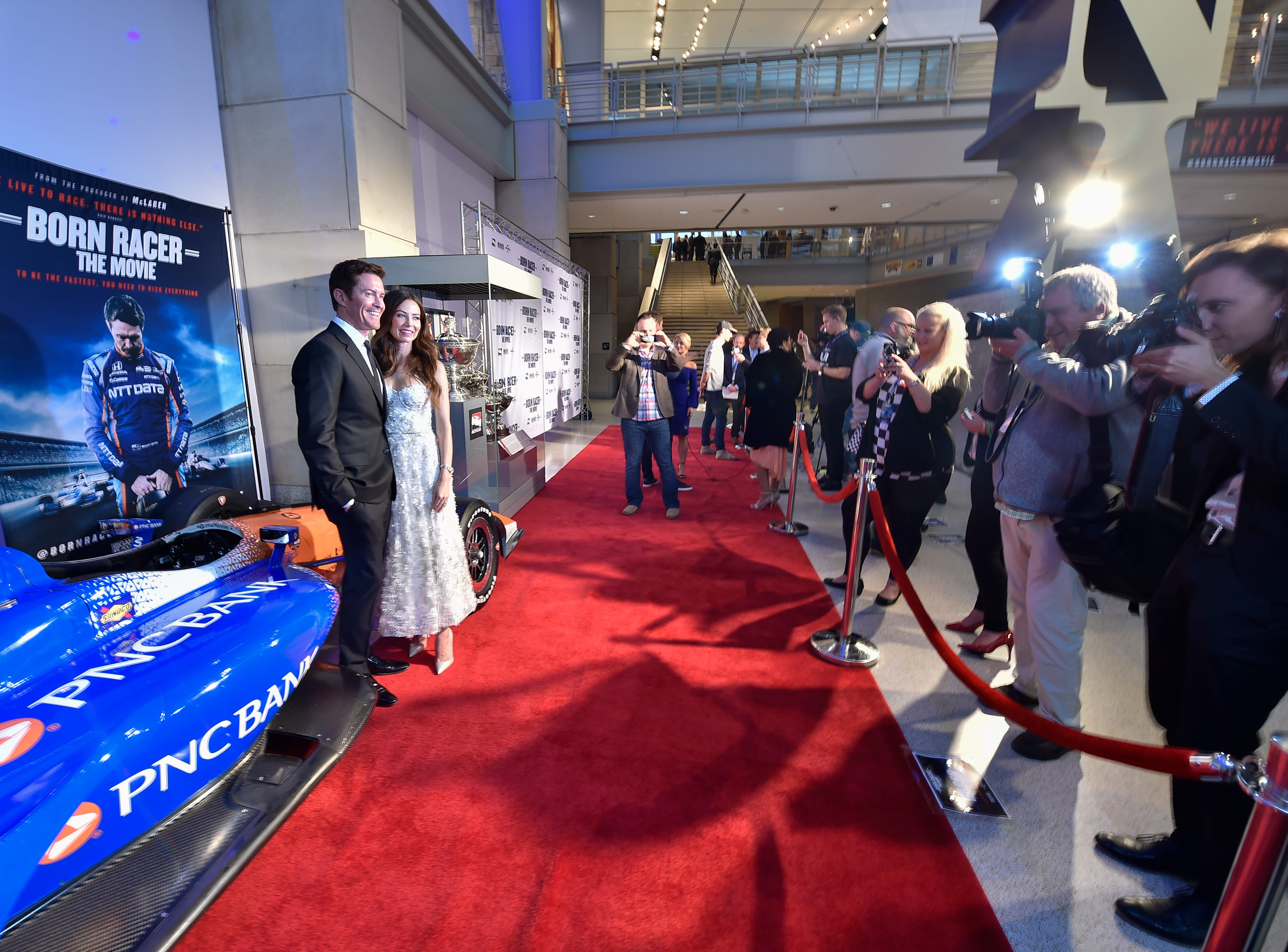 Inside the premiere of 'Born Racer,' a story about IndyCar driver Scott Dixon, at the IMAX theater at the Indiana State Museum on Monday, Sept. 24, 2018.