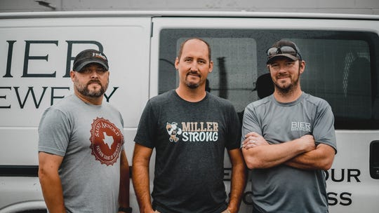 From left, JT Walker's Restaurant owner and general manager Justin Taylor; Cory Whistler, whose daughter Ella survived the Noblesville West Middle School shooting and Bier Brewery co-owner and brewer, Darren Connor.