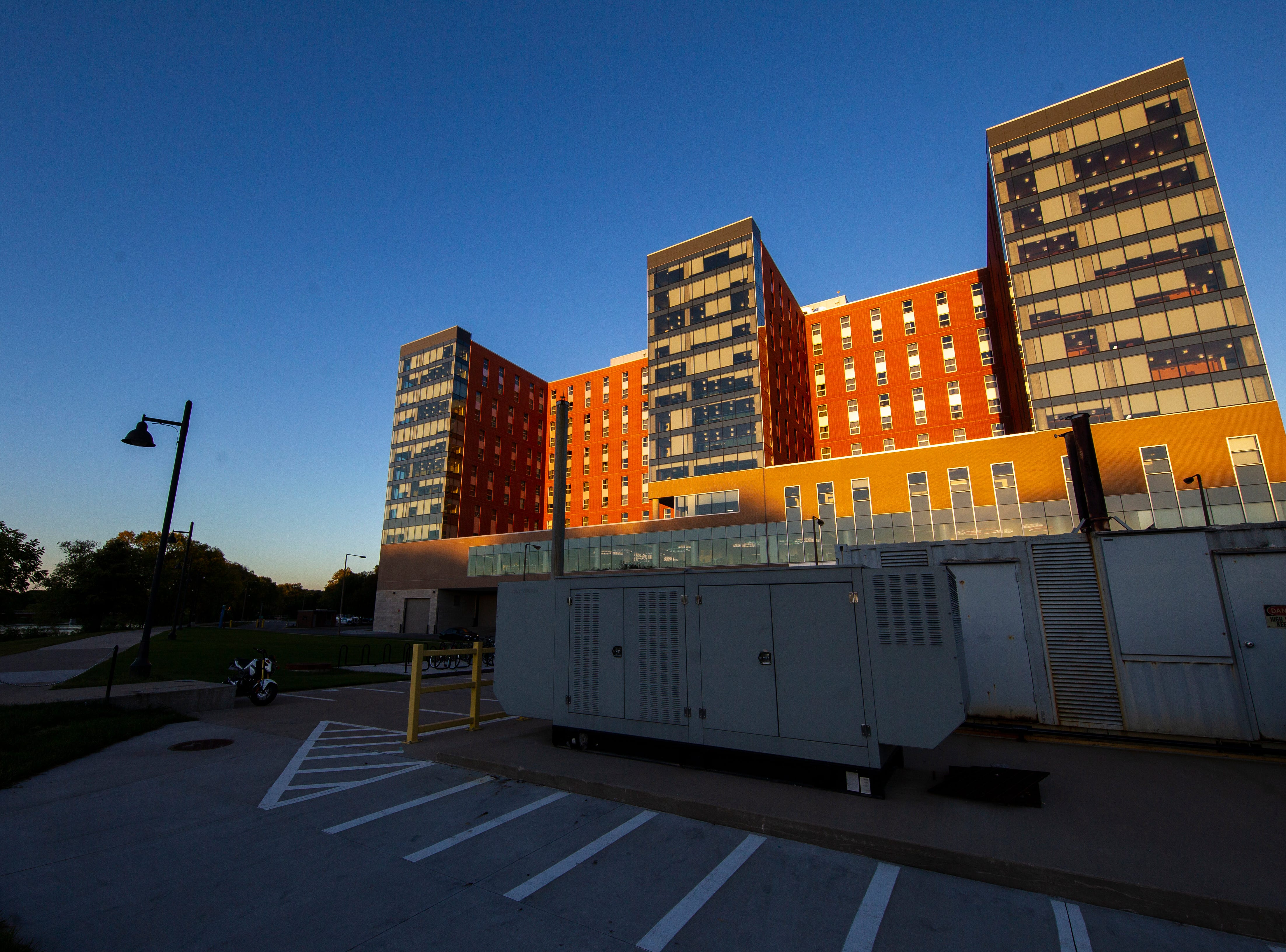 Elizabeth Catlett Residence Hall is seen on Sunday, Sept. 23, 2018, in Iowa City. Catlett was completed in 2017 and is the newest residence hall on campus, housing 1,049.