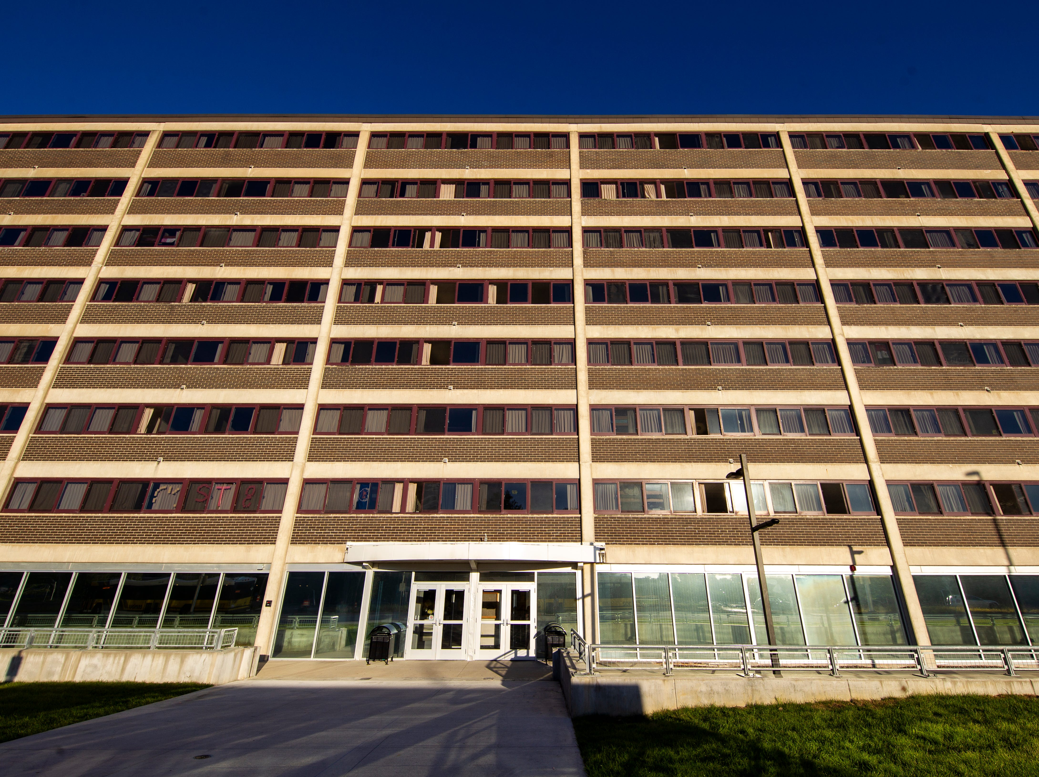 Mayflower Residence Hall is seen on Sunday, Sept. 23, 2018, along Dubuque Street in Iowa City. Mayflower was completed in 1966, housing 1,032.