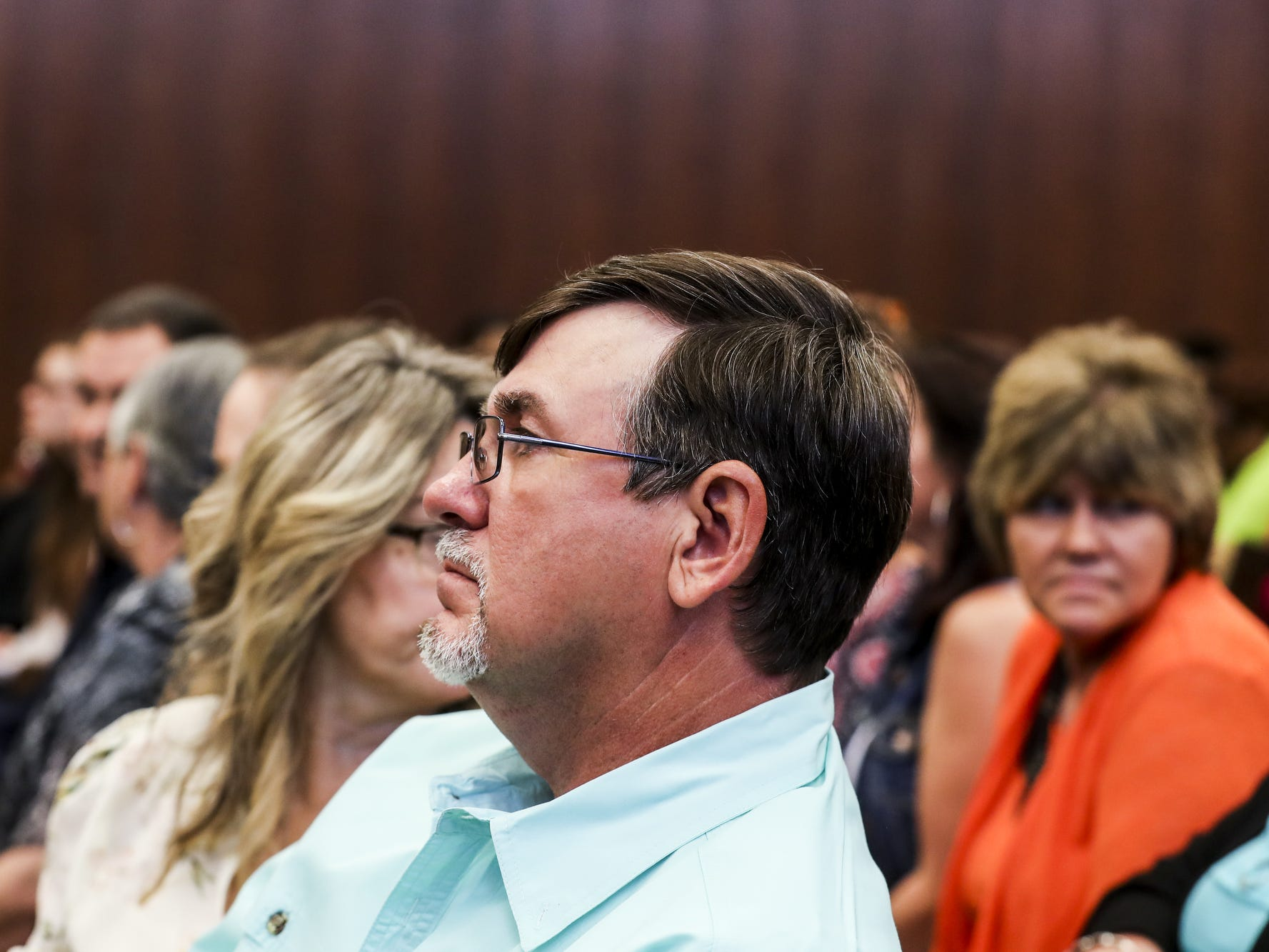 September 25 2018 - Ben Chambers, father of Jessica Chambers, is seen in the courtroom on the first day of the retrial of Quinton Tellis in Batesville, Mississippi on Tuesday. Tellis is charged with burning 19-year-old Jessica Chambers to death almost three years ago on Dec. 6, 2014. Tellis has pleaded not guilty to the murder.