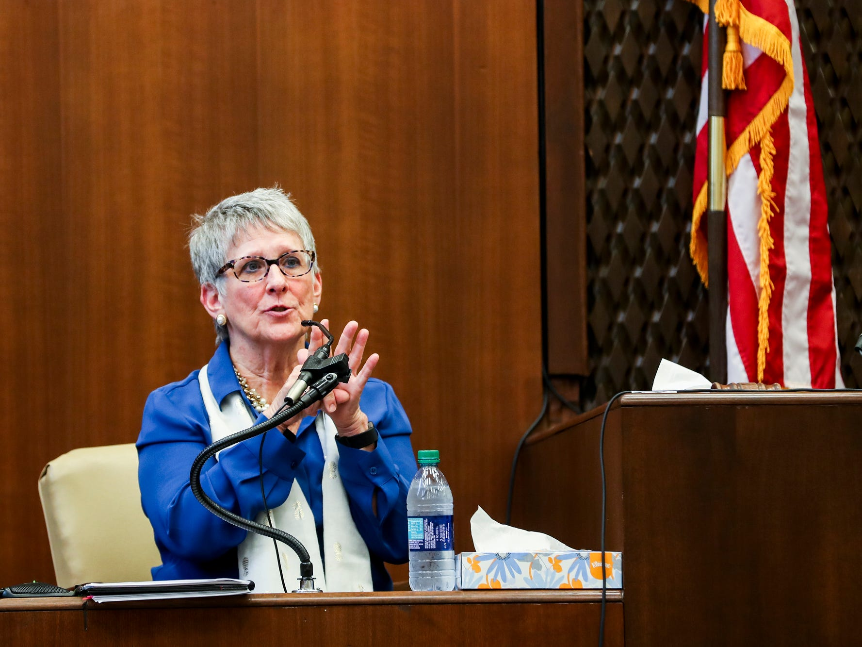 Dr. Carolyn Wiles Higdon testifies during the first day of the retrial of Quinton Tellis in Batesville, Miss., Tuesday, Sept. 25 2018. Tellis is charged with burning 19-year-old Jessica Chambers to death almost three years ago on Dec. 6, 2014. Tellis has pleaded not guilty to the murder. (Brad Vest/The Commercial Appeal via AP, Pool)