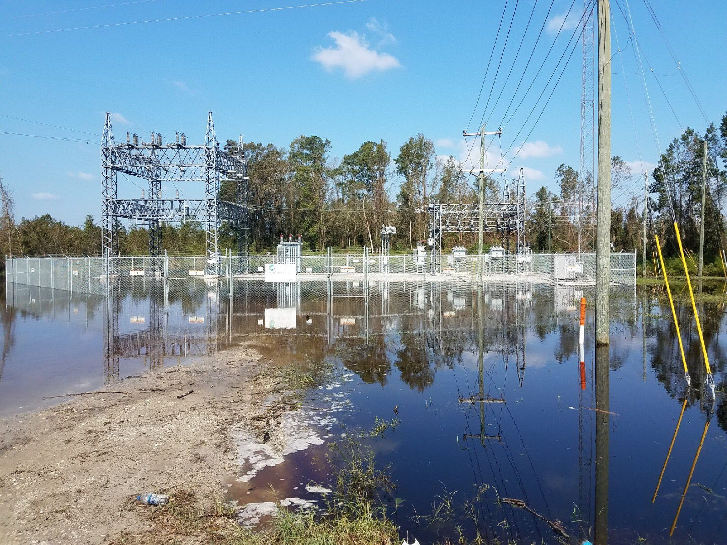 A photo submitted by George Dawson showing a power plant flooded with water. (George Dawson/Courtesy)