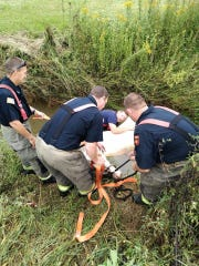 When they were unable to lead the horse out of the ditch with a halter, crews used body straps to pull the animal out with the help of a winch.