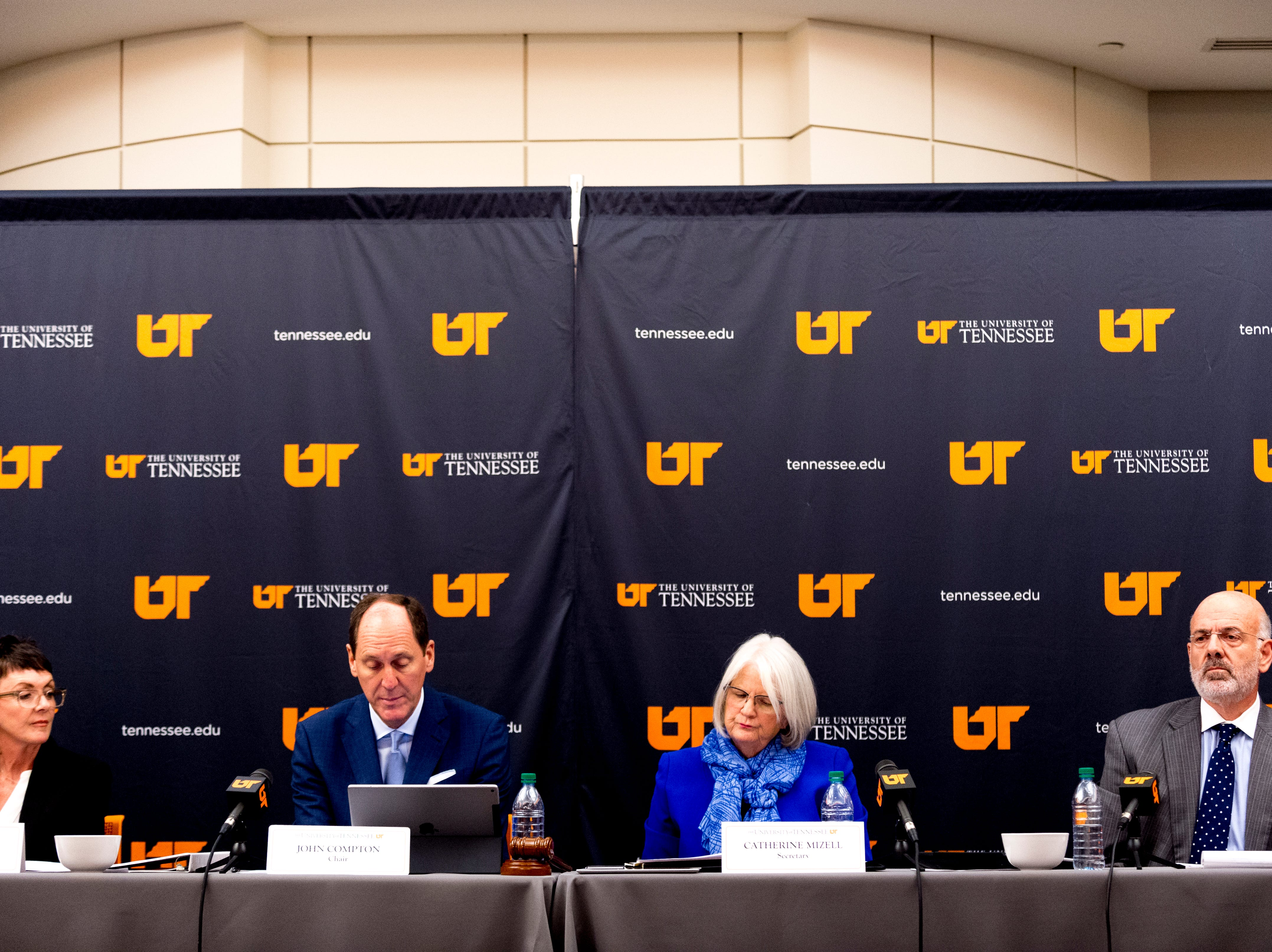 From left, trustee Kim White, Chairman John Compton, Secretary Catherine Mizell and President Joe DiPietro during a University of Tennessee Board of Trustees meeting at the UTK Visitor's Center in Knoxville, Tennessee on Tuesday, September 25, 2018. The board met to discuss several topics including the installment of an interim president.