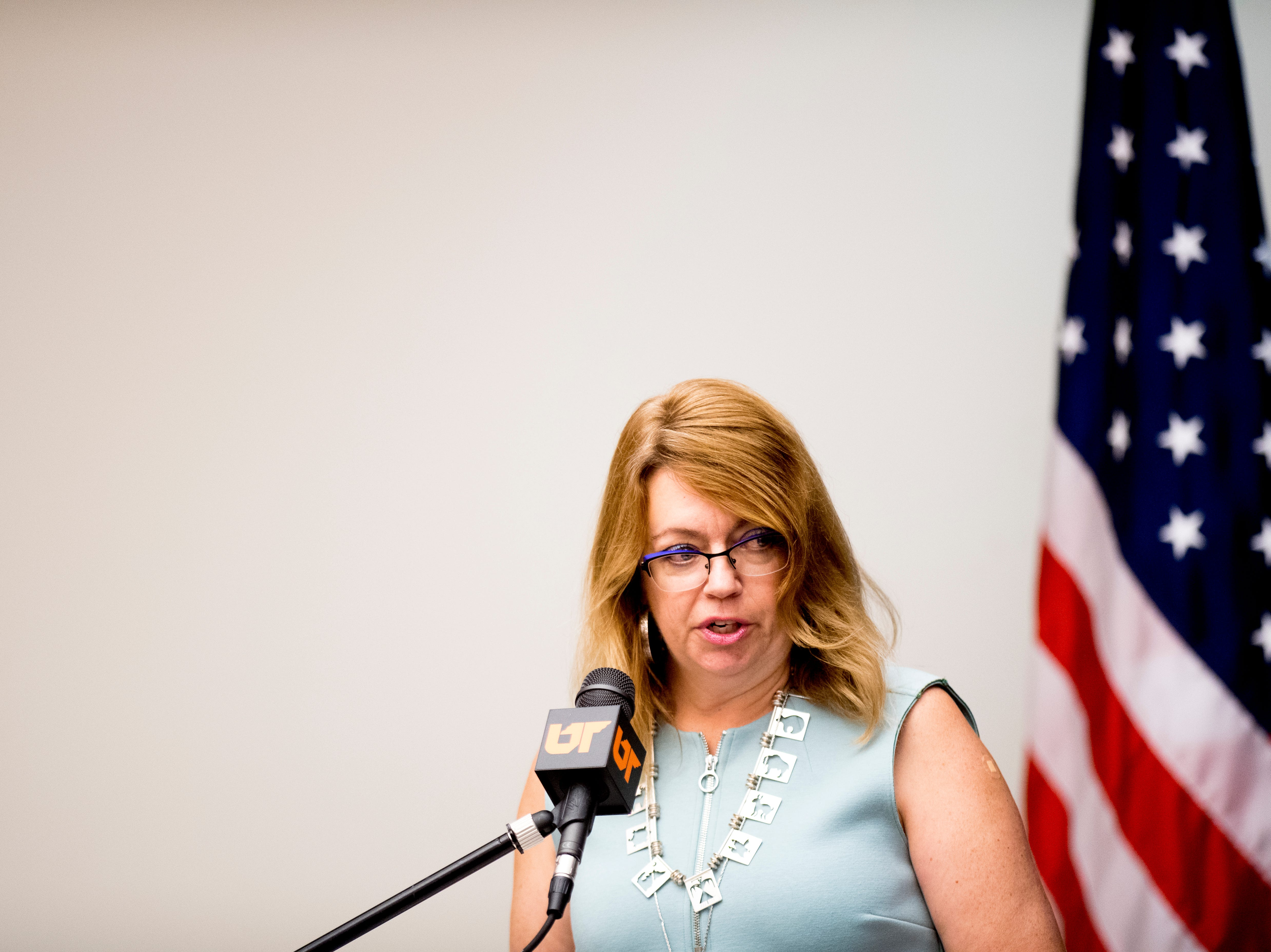 Tina Richey, a UTK research associate, speaks against the appointment of Randy Boyd as interim president during a University of Tennessee Board of Trustees meeting at the UTK Visitor's Center in Knoxville, Tennessee on Tuesday, September 25, 2018. The board met to discuss several topics including the installment of an interim president.